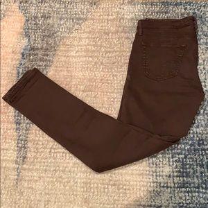 AG burgundy super skinny jeans